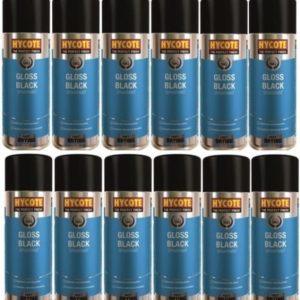 Hycote Gloss Black Spray Paint (Pack Of 12) 400Ml Xuk0272-0