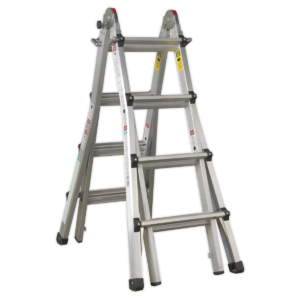 Sealey AFPL3 Aluminium Telescopic Ladder 4-Way EN 131 Adjustable Height-0
