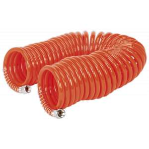 "Sealey AH10C/6 PU Coiled Air Hose 10mtr x Ø6mm with 1/4""BSP Unions-0"