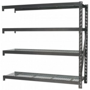 Sealey AP6572E Heavy-Duty Racking Extension Pack with 4 Mesh Shelves 640kg Capacity Per Level-0