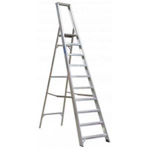 Sealey AXL10 Aluminium Step Ladder 10-Tread Industrial BS 2037/1-0