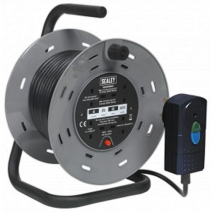 Sealey BCR25RCD Cable Reel 25m 4 x 230V 1.25mm² Thermal Trip with RCD Plug-0