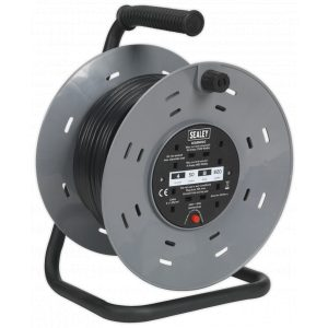 Sealey BCR50 Cable Reel 50m 4 x 230V 1.25mm² Thermal Trip-0