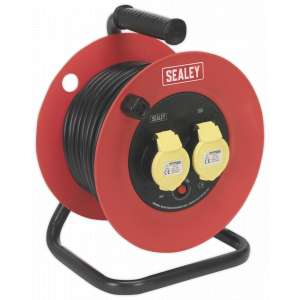 Sealey CR12515 Cable Reel 25m 2 x 110V 1.5mm² Heavy-Duty Thermal Trip-0