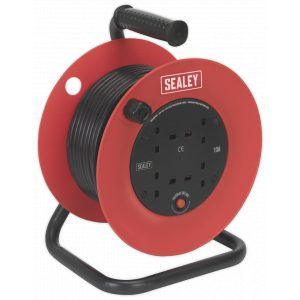 Sealey CR25/1.5 Cable Reel 25mtr 4 x 230V 1.5mm² Heavy-Duty Thermal Trip-0