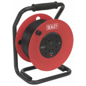 Sealey CR50/1.5 Cable Reel 50mtr 4 x 230V 1.5mm² Heavy-Duty Thermal Trip-0