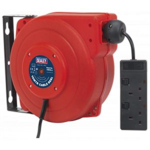 Sealey CRM10 Cable Reel System Retractable 10m 2 x 230V Socket-0