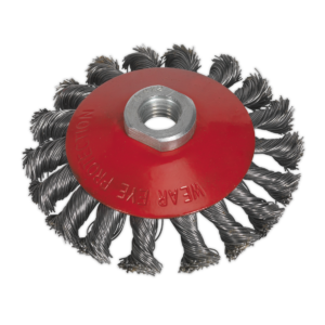 Sealey CWB101 Conical Wire Brush Ø100mm M14 x 2mm-0
