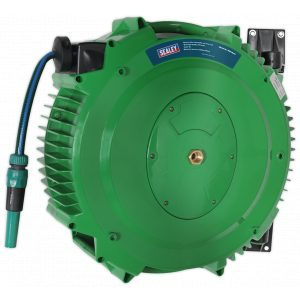 Sealey RGH18 Retractable Water Hose Reel 18m 12mm ID PVC Hose-0
