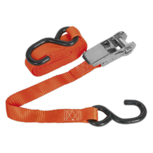 Sealey TD0845S Ratchet Tie Down 25mm x 4.5m Polyester Webbing with S Hook 800kg Load Test-0
