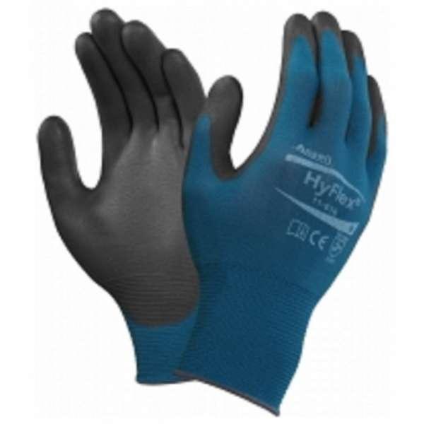 Ansell 11-616 Hyflex PU Gloves Blue / Black-0