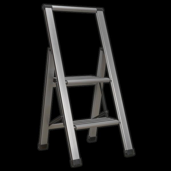 Sealey APSL2 Aluminium Professional Folding Step Ladder 2-Step 150kg Capacity-0