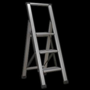 Sealey APSL3 Aluminium Professional Folding Step Ladder 3-Step 150kg Capacity-0