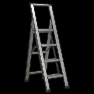 Sealey APSL4 Aluminium Professional Folding Step Ladder 4-Step 150kg Capacity-0
