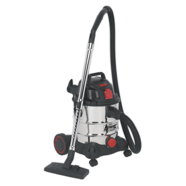 Sealey PC200SDAUTO Vacuum Cleaner Industrial 20L 1400W/230V Stainless Drum Auto Start-0