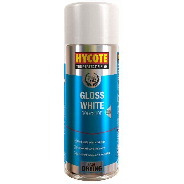 Hycote Bodyshop Gloss White Spray Paint Aerosol 400ml-0