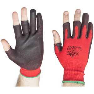 Polyco Matrix Fingerless PU Palm Gloves Red / Black-0