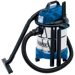 Draper 20L 1250W 230V Wet and Dry Vacuum Cleaner with Stainless Steel Tank 13785-0