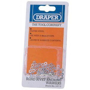 Draper 100 x 2.4mm Rivet Backing Washers 14013-0
