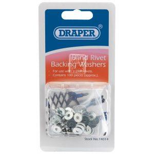 Draper 100 x 3.2mm Rivet Backing Washers 14014-0