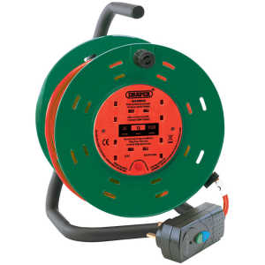 Draper 25M 230V Four Socket Garden Cable Reel with RCD Adaptor 26341-0