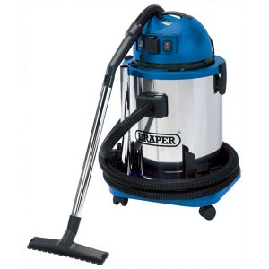 Draper 50L 1400W 230V Wet and Dry Vacuum Cleaner with Stainless Steel Tank and 230V Power Tool Socket 48499-0