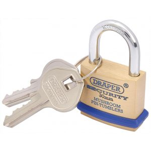 Draper 30mm Solid Brass Padlock and 2 Keys with Mushroom Pin Tumblers Hardened Steel Shackle and Bumper 64160-0