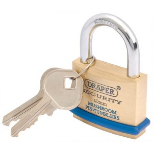 Draper 40mm Solid Brass Padlock and 2 Keys with Mushroom Pin Tumblers Hardened Steel Shackle and Bumper 64161-0