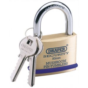 Draper 50mm Solid Brass Padlock and 2 Keys with Mushroom Pin Tumblers Hardened Steel Shackle and Bumper 64162-0