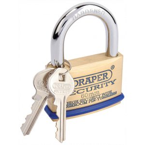 Draper 60mm Solid Brass Padlock and 2 Keys with Mushroom Pin Tumblers Hardened Steel Shackle and Bumper 64163-0