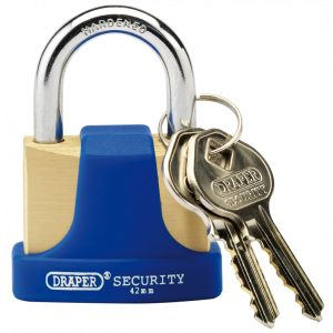 Draper 42mm Solid Brass Padlock and 2 Keys with Hardened Steel Shackle and Bumper 64165-0