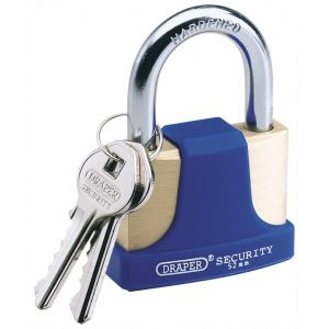 Draper 52mm Solid Brass Padlock and 2 Keys with Hardened Steel Shackle and Bumper 64166-0