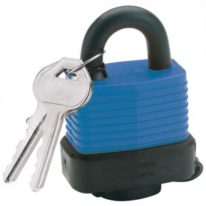 Draper 45mm Laminated Steel Padlock and 2 Keys with Hardened Steel Shackle and Bumper 64176-0