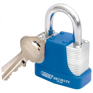 Draper 44mm Laminated Steel Padlock and 2 Keys with Hardened Steel Shackle and Bumper 64181-0