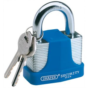 Draper 65mm Laminated Steel Padlock and 2 Keys with Hardened Steel Shackle and Bumper 64183-0