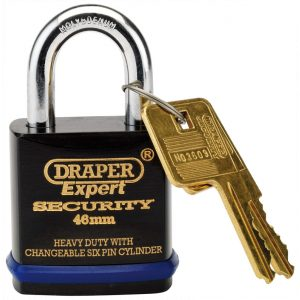Draper Expert 46mm Heavy Duty Padlock and 2 Keys with Super Tough Molybdenum Steel Shackle 64192-0