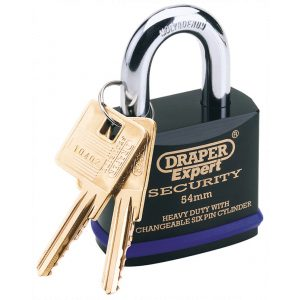 Draper Expert 54mm Heavy Duty Padlock and 2 Keys with Super Tough Molybdenum Steel Shackle 64193-0