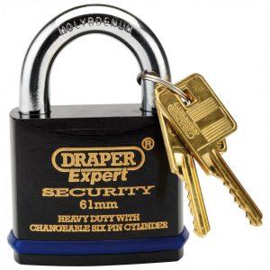 Draper Expert 61mm Heavy Duty Padlock and 2 Keys with Super Tough Molybdenum Steel Shackle 64194-0