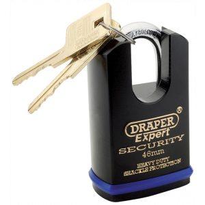 Draper Expert 46mm Heavy Duty Padlock and 2 Keys with Shrouded Shackle 64196-0