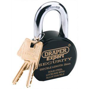 Draper Expert 63mm Heavy Duty Stainless Steel Padlock and 2 Keys 64206-0