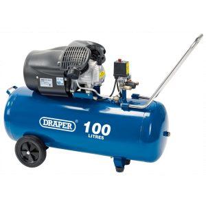 Draper 100L 230V 3.0hp (2.2kW) V-Twin Air Compressor 65396-0
