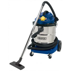 Draper 50L 1500W 110V Wet and Dry Vacuum Cleaner with Stainless Steel Tank and 110V Power Tool Socket 75443-0