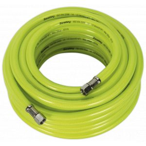 "Sealey AHFC15 Air Hose High Visibility 15m x Ø8mm with 1/4""BSP Unions-0"