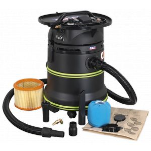 Sealey DFS35M Vacuum Cleaner Industrial Dust-Free Wet/Dry 35L 1000W/230V Plastic Drum Class M Self-Clean Filter-0