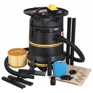 Sealey PC35110V Vacuum Cleaner Industrial Wet/Dry 35L 1200W/110V Plastic Drum Class M Self-Clean Filter-0