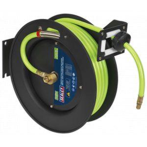 Sealey SA841HV Retractable Air Hose Metal Reel 15m Ø10mm ID High Visibility TPR Hose-0