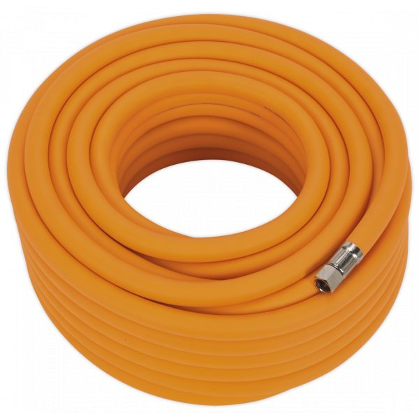 "Sealey AHHC2038 Air Hose 20m x Ø10mm Hybrid High Visibility with 1/4""BSP Unions-0"
