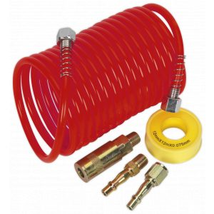 Sealey AHK03 Air Hose Kit 5m x Ø5mm PU Coiled with Connectors-0