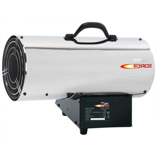 Draper Jet Force, Stainless Steel Propane Space Heater - 85,000 Btu (25kw)-0