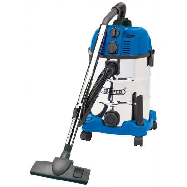 Draper 30l Wet And Dry Vacuum Cleaner With Integrated 230v Power Socket (1600w)-0